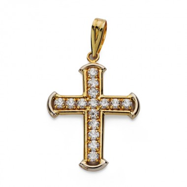 Cruz bicolor de oro de 18 quilates con circonitas