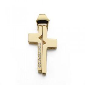 Cruz de oro de 18 quilates con circonitas