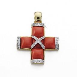 Cruz bicolor de oro de 18 quilates con corales y circonitas